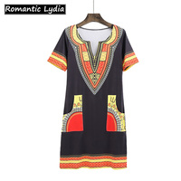 African Dresses Women Sexy V-Neck Dashiki Clothing Traditional Print Bodycon Female Shirt Dresses Vintage Boho Mini Summer Dress