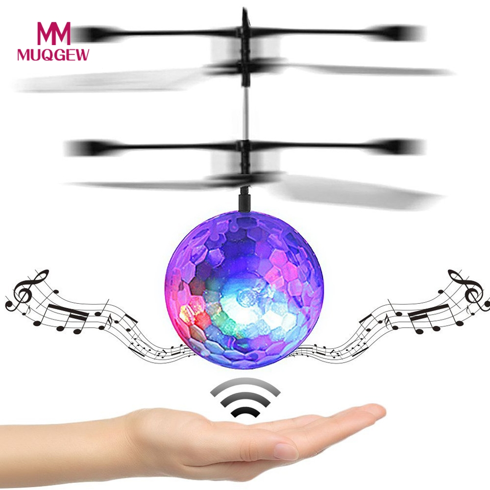 Colorful Flyings RC Toy EpochAir RC Flying Ball Drone Helicopter Ball Built-in Disco Music LED Lighting for Kids Teenagers Gift