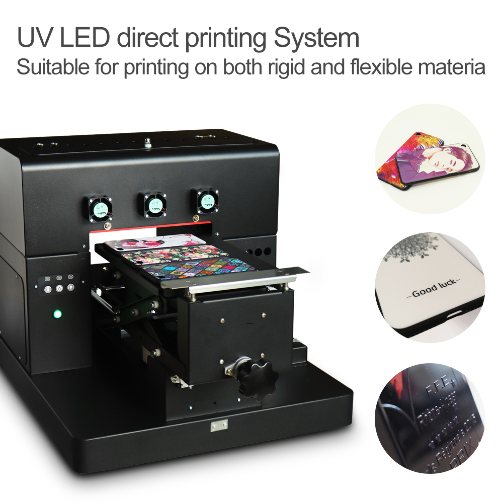 A4 UV Printer for phone case metal A4 UV ink Flatbed Printer LED with emboss effect Phone Case leather wooden Printing Machine leather printing ink belt printer ink haiwn pg600 c
