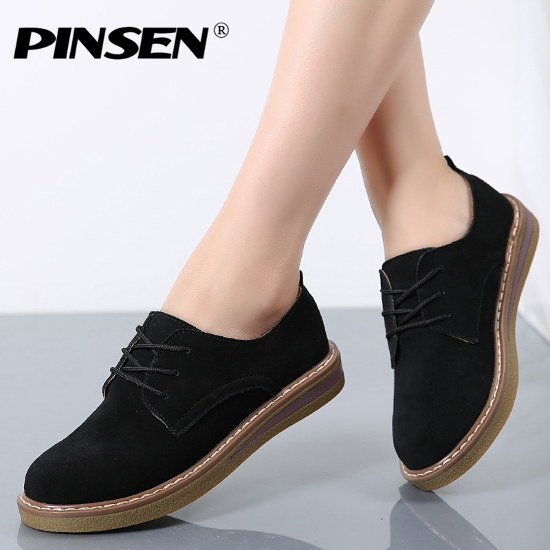 PINSEN 2019 Autumn Women Oxford Shoes Flats Shoes Women   Leather     Suede   Lace up Boat Shoes Round Toe Flats Moccasins
