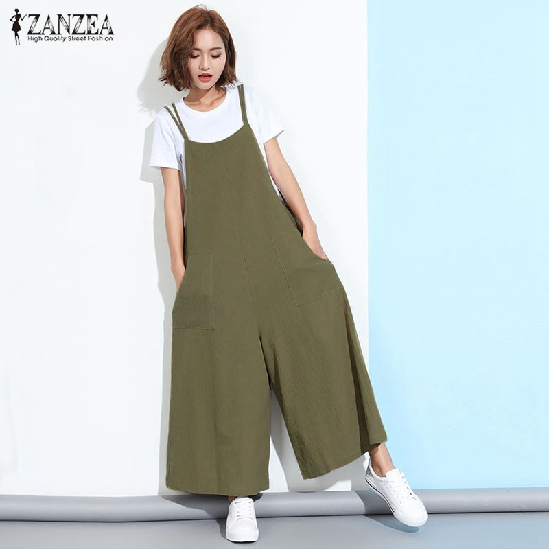 ZANZEA Rompers Womens Jumpsuit 2018 Summer Casual Loose Sleeveless Overalls Plus Size Playsuits Solid Wide Leg Pants Trousers
