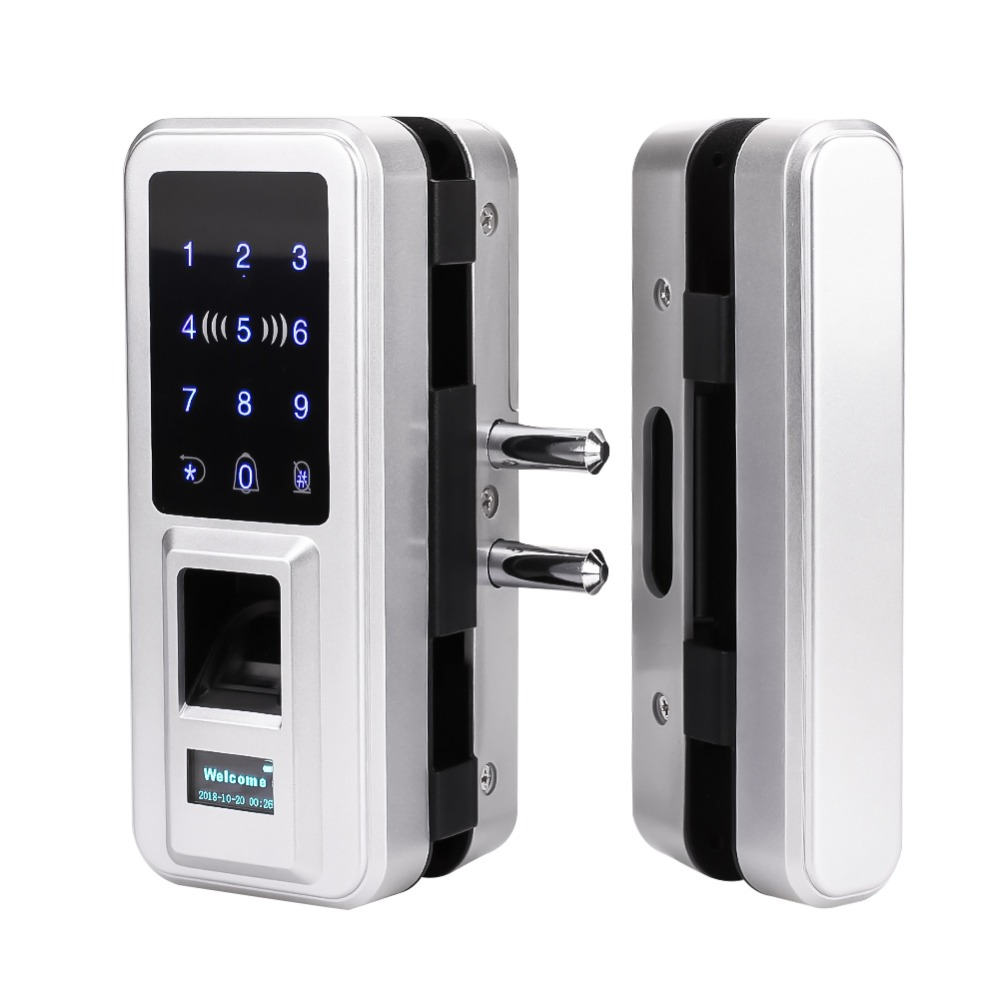 New Glass Door Lock Office Keyless Electric Fingerprint Lock With Touch Keypad Smart Card Remote Control Key Door Lock