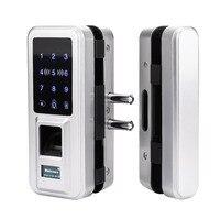 New Glass Door Lock Office Keyless Electric Fingerprint Lock With Touch Keypad Smart Card Remote Control Key Door Lock