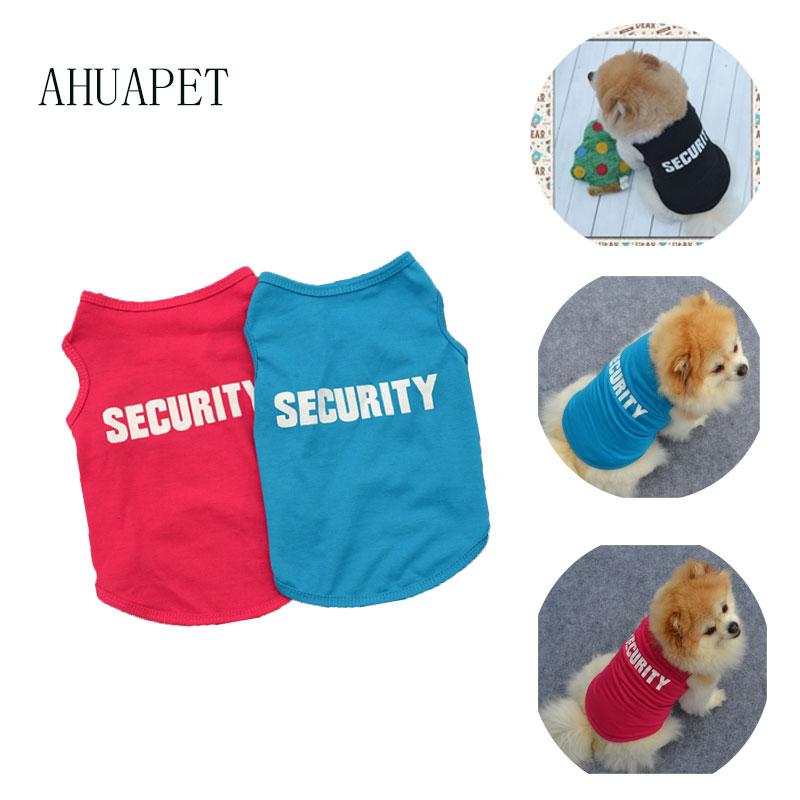 Security Dog Shirt Yorkshire Terrier Dog T shirt Pet Clothes Vest Summer Pets Dogs Cotton Clothes Shirts Apparel Clothes For E