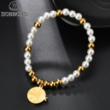HOBBORN Fashion Simulated-pearl Beaded Bracelets for Women Stainless Steel Beads Ladybug Charm Bracelet Friendship Jewelry Gifts