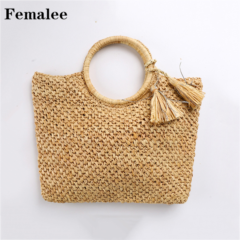 FEMALEE Newly 2018 Summer Beach Bag Hand Woven Straw Bags Fashion Tassel Casual Tote Round Handle