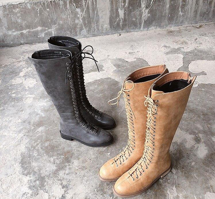 새로운 2018 패션 여성 겨울 크로스 묶인 부츠 가죽 지퍼 라운드 발가락 스퀘어 발 뒤꿈치 오토바이 부츠 중반 송아지 신발-에서미드 카프 부츠부터 신발 의  그룹 1