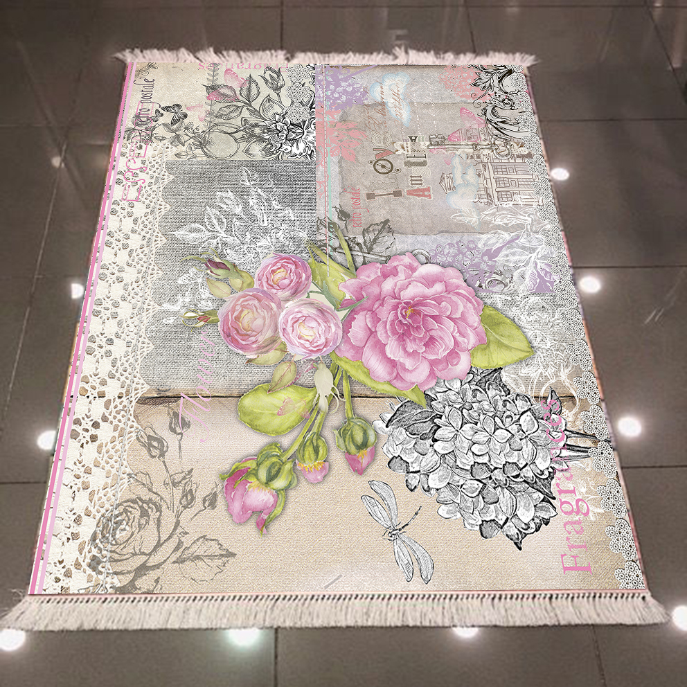 Else Pink Gray Writen Flowers Floral 3d Pattern Print Microfiber Anti Slip Back Washable Decorative Kilim Area Rug Carpet