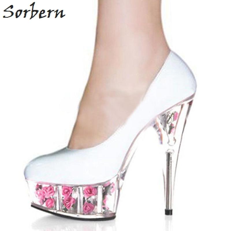 Sorbern 15cm clear spike heels flowers women pumps round toe slip on sorbern 15cm clear spike heels flowers women pumps round toe slip on platform pink platform high mightylinksfo