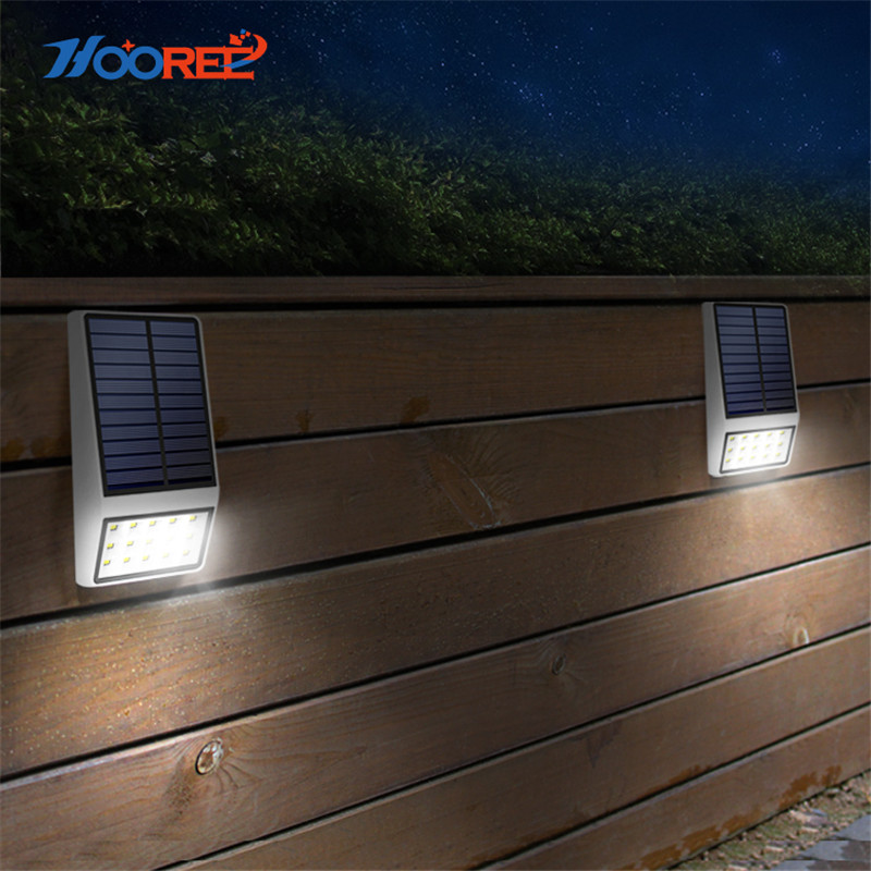 HOOREE 4PCS 15 LED Solar Light Outdoor Waterproof IP65 Energia Solar Lamp Garden Pathway Yard Wall Lamp Microwave Induction