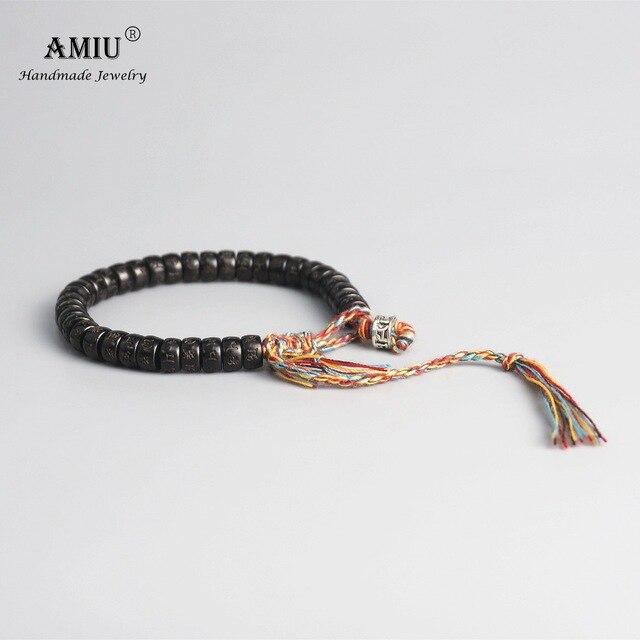 AMIU Tibetan buddhist Braided Cotton Thread Lucky Knots bracelet Natural Coconut Shell Beads 4