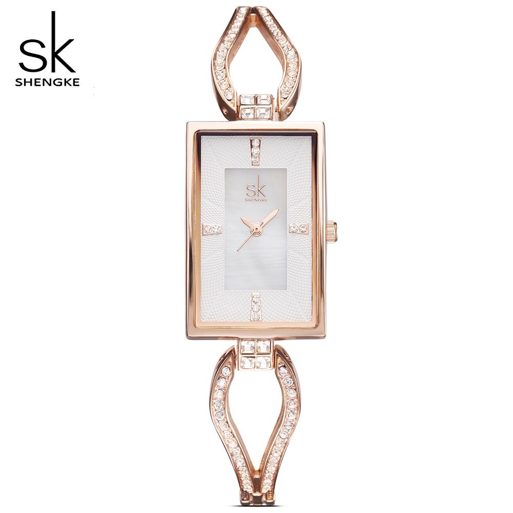 SK New Women Geneva Quartz movement Watches Female luxurious Rectangle Rhinestones Dial Fashion Watch Ladies Clock