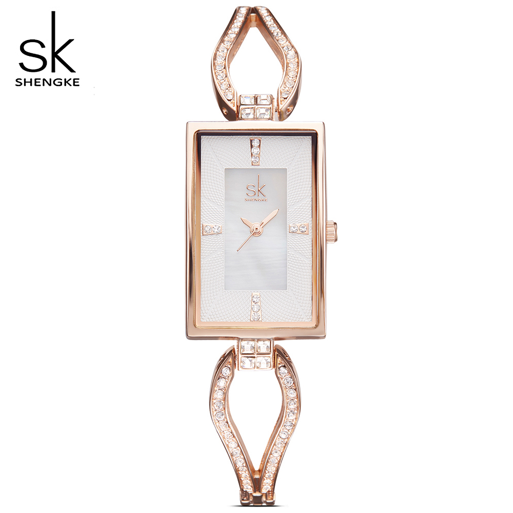 SK New Women Geneva Quartz movement Watches Female luxurious Rectangle Rhinestones Dial Fashion Watch Ladies Clock