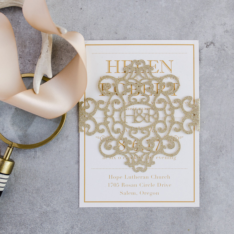 modern gold glitter monogram laser cut belly band wedding invitations with insert and envelope