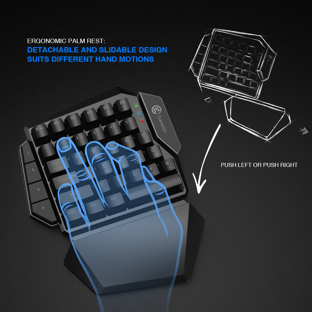 GameSir Z2 Gaming 2.4GHz Wireless Keypad and DPI Mouse Combo One-handed Keyboard For Android/iOS/Windows For PUBG FPS Games 4