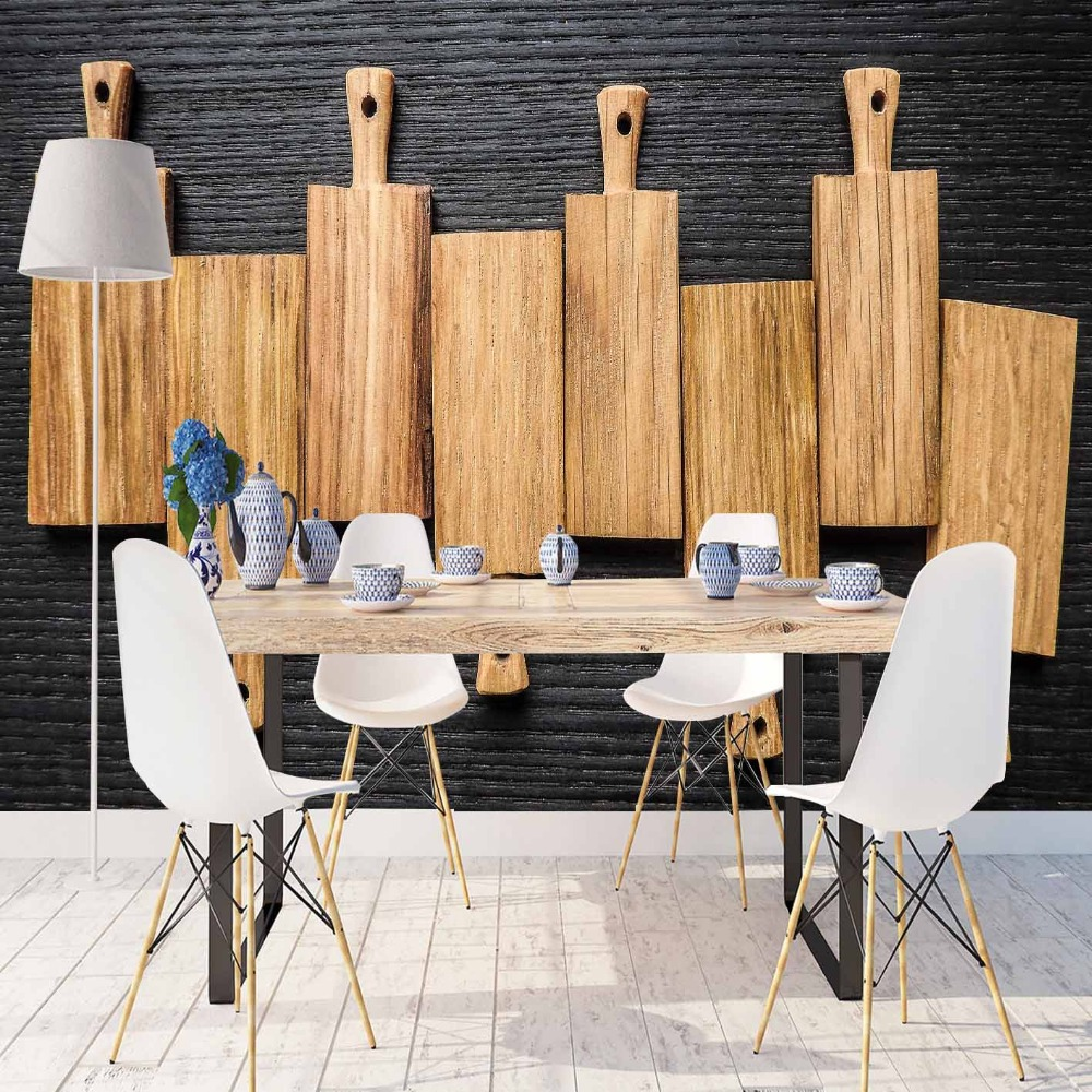 Else Black Floor On Wood Chopping Boards 3d Print Photo Cleanable Fabric Mural Home Decor Kitchen Background Wallpaper