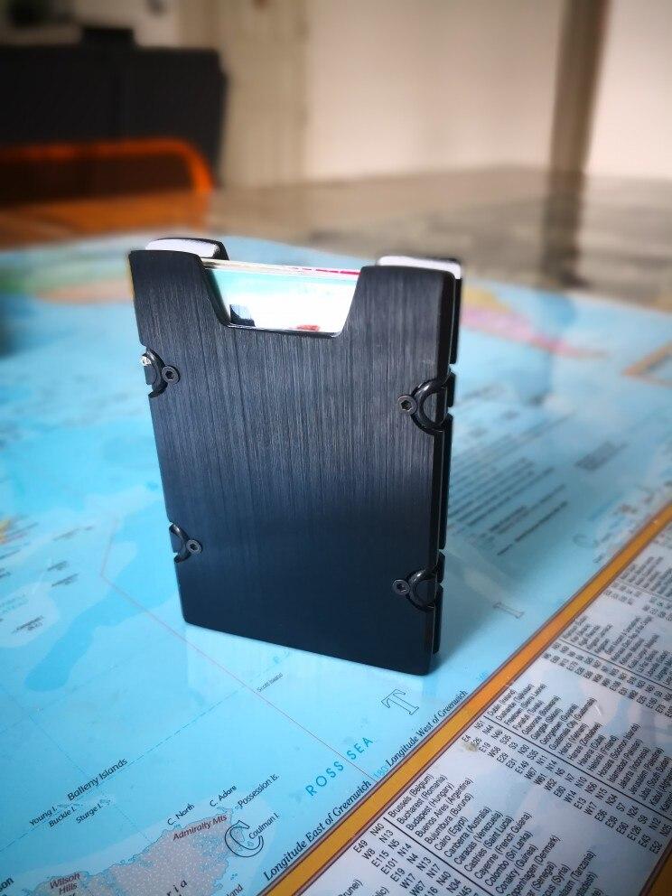 Metalen Mini Geld Clip Merk Mode Zwart Wit Creditcard ID Houder Met RFID Anti-chief Portemonnee Heren photo review