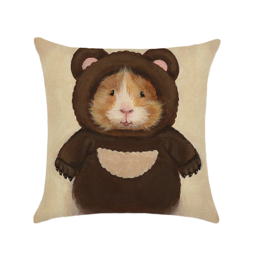 Guinea Pig Decorative Cotton Linen Square House Sofa Car Office Cushion Cover Nap Throw Pillow Case Home Supplies(without core)