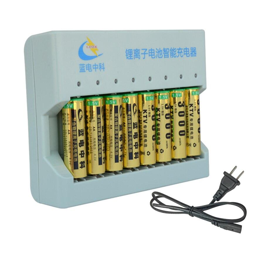 3000mWh 8 pcs 1.5 v sem efeito de memória da bateria de polímero de íon de lítio recarregável de polímero de lítio bateria de lítio + 8 slot inteligente carregador