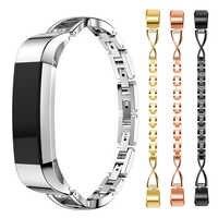 Para Fitbit Alta HR diamantes de imitación Acero inoxidable correa de repuesto reloj inteligente banda accesorios pulsera deportes joyería Correa Mujer