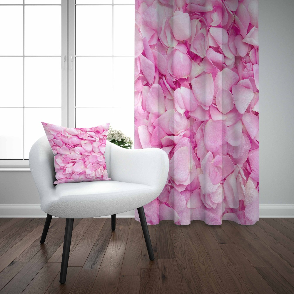 Else Pink White Rose Flowers Leaves Floral Modern 3D Print Living Room Bedroom Window Panel Curtain Combine Gift Pillow Case