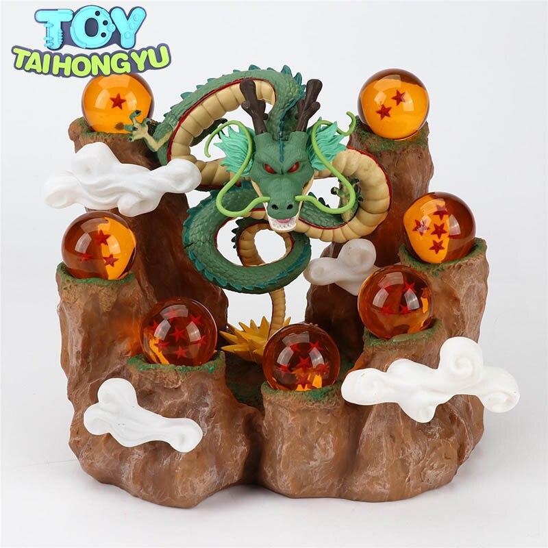 TAIHONGYU 7 stücke Dragon Balls Z Berg Action-figuren Shenron + Steingarten Baumstumpf Stehen DBZ Set Esferas Del Drachen spielzeug