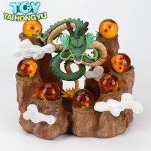TAIHONGYU 7pcs Dragon Balls Z Mountain Action Figures Shenron + Rockery Tree Stump Stand DBZ Set Esferas Del Dragon Toys