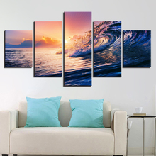 Canvas Sunset Sea Waves Seascape Paintings Ocean Beach Posters HD Printed Home Decorative 5 Pieces Wall Art  Modular Pictures
