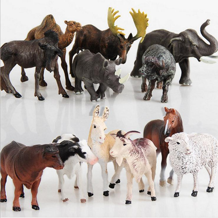 6pcs Simulated Farm Animal Horse Sheep Cows Donkey Forest Animals Moose Rhinoceros Elephant Model Static Plastic Toys 6pcs simulated farm animal horse sheep