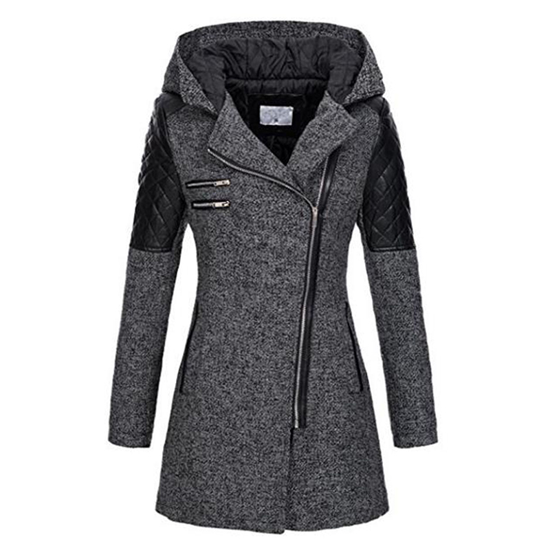Women Winter Hooded Coat Autumn Zipper Slim Outerwear Spring Fashion Patchwork Black Female Warm Windproof Overcoats
