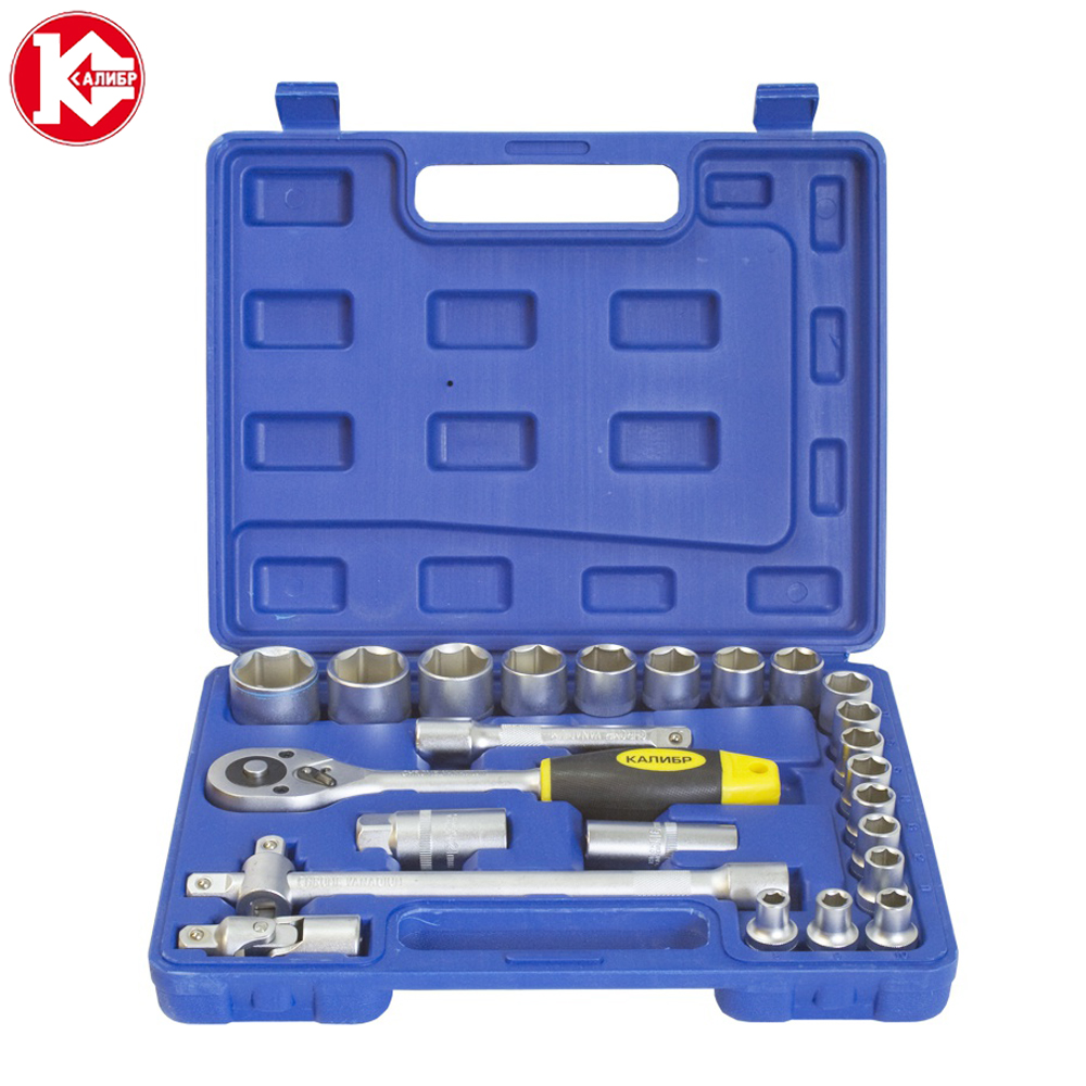 Cr-v hand tools set Kalibr NSM-24, 24pc Spanner Socket Set Car Vehicle Motorcycle Repair Ratchet Wrench Set high quality 14pcs power nut driver adapter drill bit set metric socket wrench screw 1 4 inch hex shank quick change screwdrive