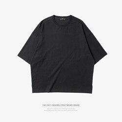인플레이션 2018 여름 새로운 스타일의 남녀 캐주얼 솔리드 팔꿈치 길이 크루 넥 코튼 대형 패션 힙합 티셔츠 0057S17