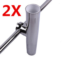 2X Stainless Steel Fishing Rod Holder For Boat Yacht Adjustable Clamp On 7 8 1 Rail