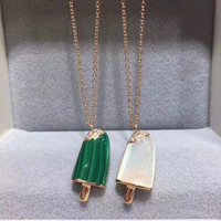 Brand Pure 925 Sterling Silver Jewelry For Women Natural Mother Shell Pearl Ice Cream Popsicle Necklace Cute Lollipop Jewelry