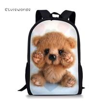 ELVISWORDS Cute Backpack Little Bear printing for Teenager Girls Boys Kids Adorable Children Bags Casual Women Travel