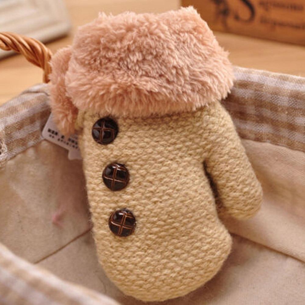 Kids Full Finger Gloves Cute Buttons Print Solid Warm Knitted Girls Winter Boys Children Fashin Warm Cute Gloves