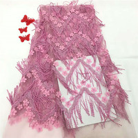 Luxury Macrame Lace Fabric High Quality French Pink Lace 3d Flower Embroidery Tulle 3d Lace African Net Mesh Lace Fabric X1125 1