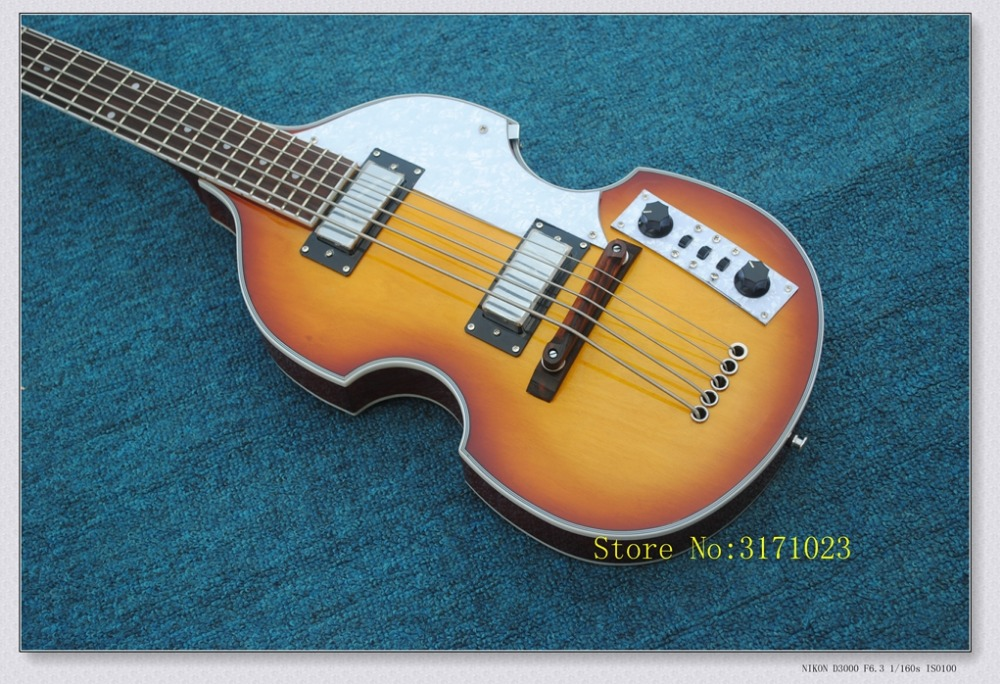 China guitar factory wholesale Brand new hofner bass 5 String Bass Sunburst color electric bass guitar free shipping the beatles 4 string electric bass guitar sun sb color musical instrument