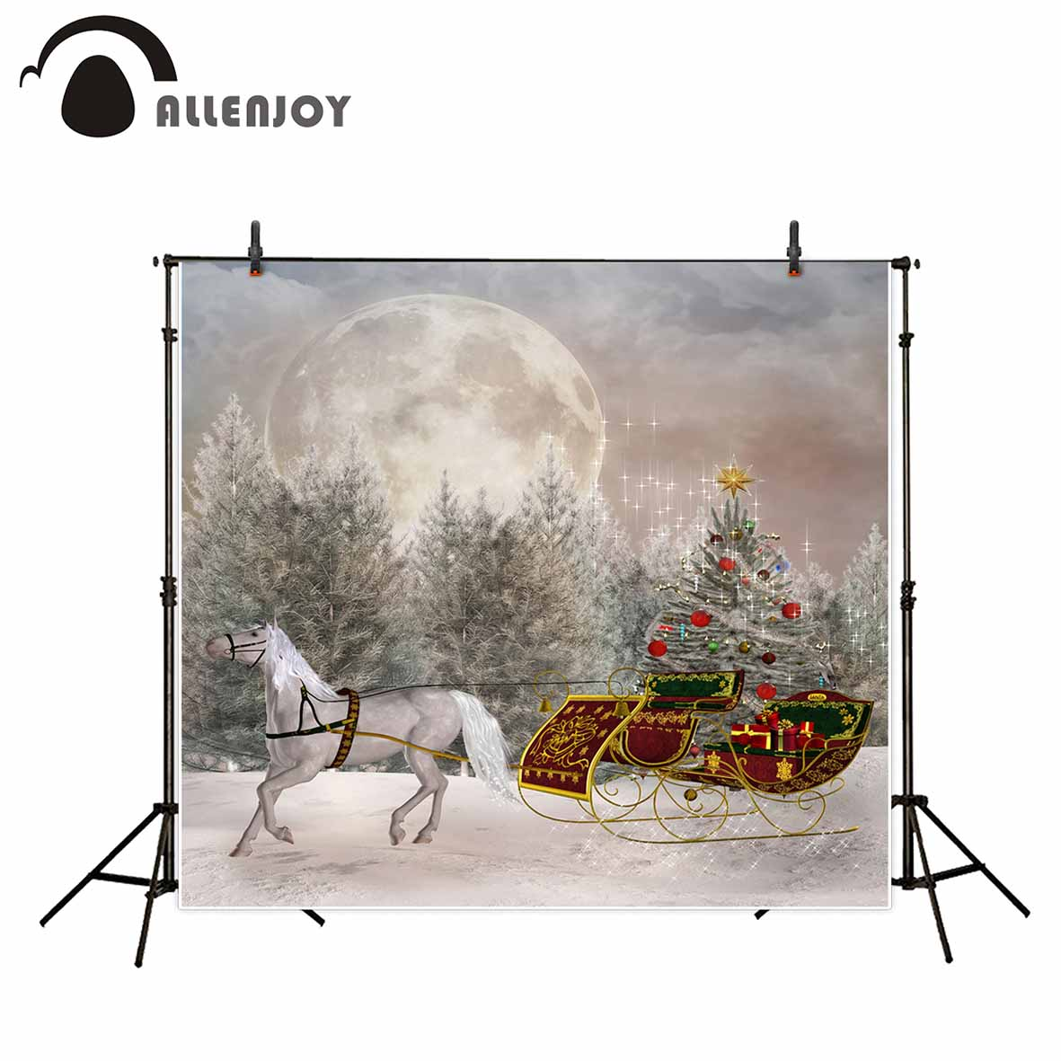 Allenjoy photography background Snow Horse Moon Sled Pine Christmas winter backdrop photo background studio camera fotografica allenjoy photography background moon castle witch bat pumpkin halloween theme backdrop photo studio camera fotografica