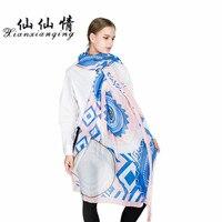 XIANXIANQING Fashion Women Diamond Scarf Blue Pink Printing Scarves Sweet Womens Poncho Lady Shawls Femme Bandanas