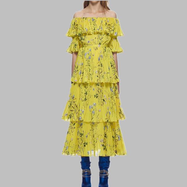 4af1eb7fb55df 2019 Summer Off Shoulder Ruffle Beach Self Portrait Long Dress Women Yellow  Boho Dress Floral Print Pleated Women Chiffon Dress