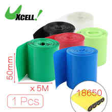 16Ft 5Meters Long 50Mm Width Light Green Pvc Heat Shrinking Tubing Heatshrink Wrap Sleeve Cover For 2 X 18650 Battery