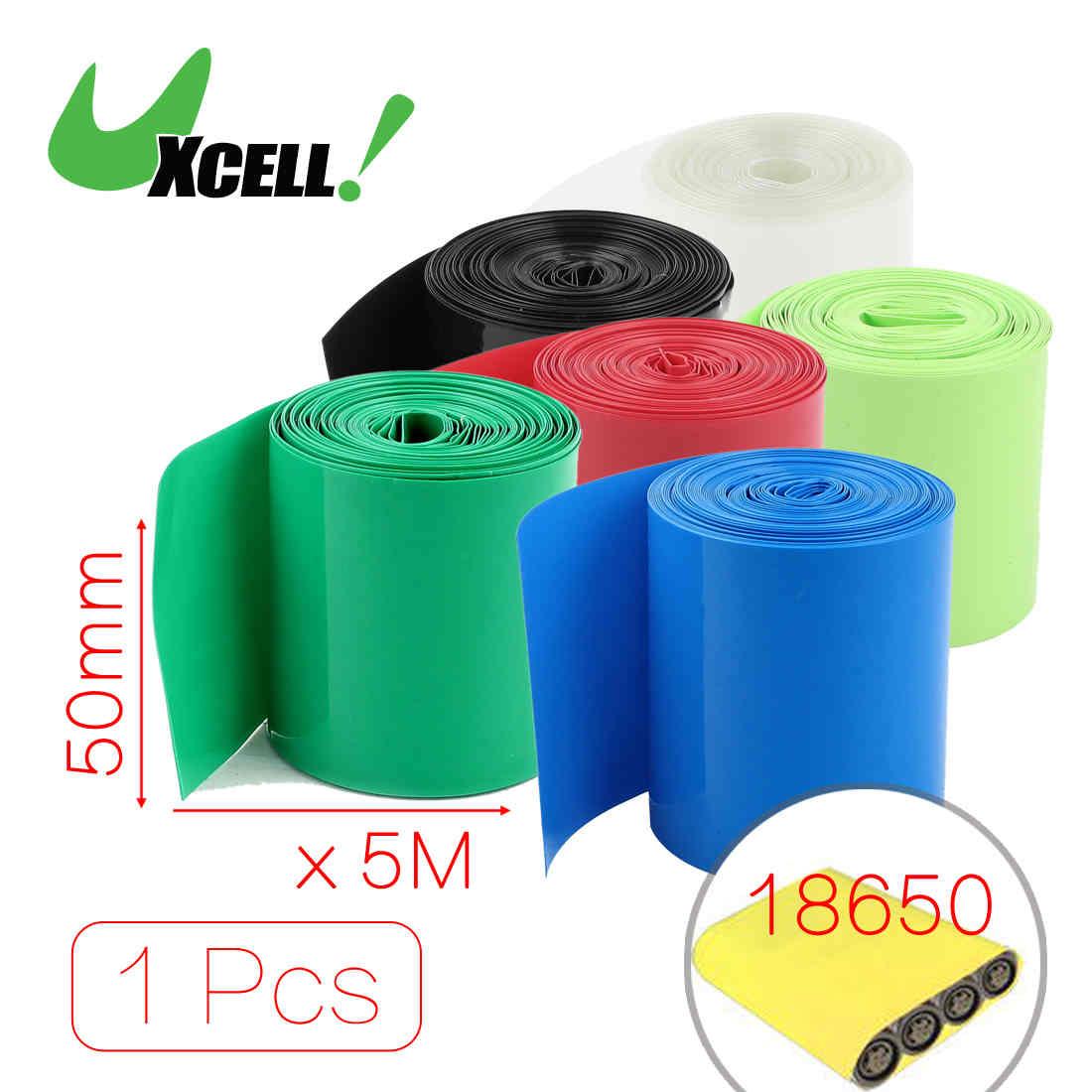 Uxcell offre spéciale 5 mètres de longueur 50mm 56mm largeur PVC film thermorétractable Tube rouge pour 2X18650 batterie noir bleu clair vert rouge