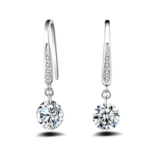 Luxury Clear CZ Band Real Pure 925 Sterling Silver Engagement Jewelry Cubic Zirconia Stone Earrings Fashion Women Favourites 925 sterling silver stud earrings fashion jewelry for decoration trendy style cz cubic zirconia women girls party engagement