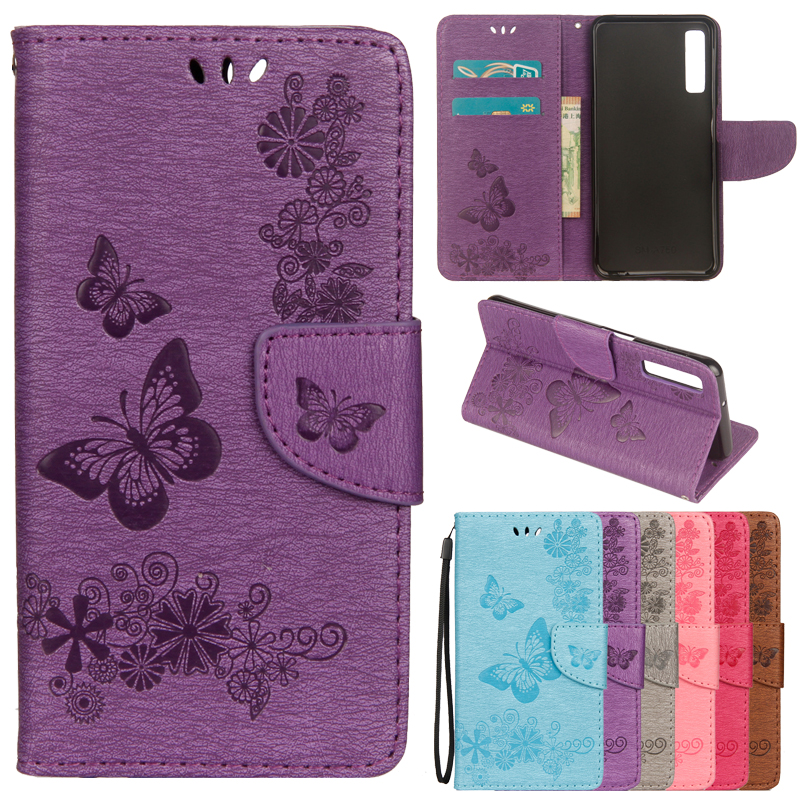 A7 2018 Case on for Samsung Galaxy A7 2018 Cover for Samsung A7 2018 A750F Fundas 3D Emboss Butterfly Flip Leather Phone Cases