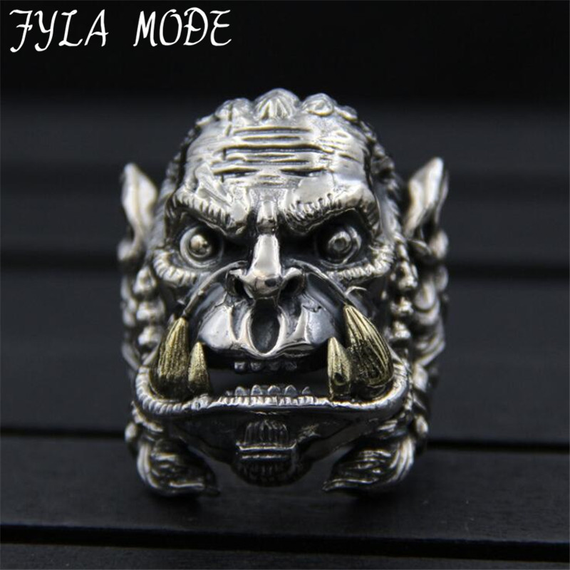 World Of Warcraft Ring Men S925 Sterling Silver Lion Ring Silver Color Metal Party Gift Jewelry alliance 31mm Width 25G PBG045 vixen return of lion