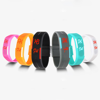 Mężczyźni kobiety moda silikonowy czerwony LED bransoletka sportowa dotykowy cyfrowy zegarek na rękę tanie i dobre opinie 20mm Szklane Owalne 00mm 11060 W SANWOOD No waterproof Prosty 26CM No package Stopu Klamra Brak Digital Wristwatches