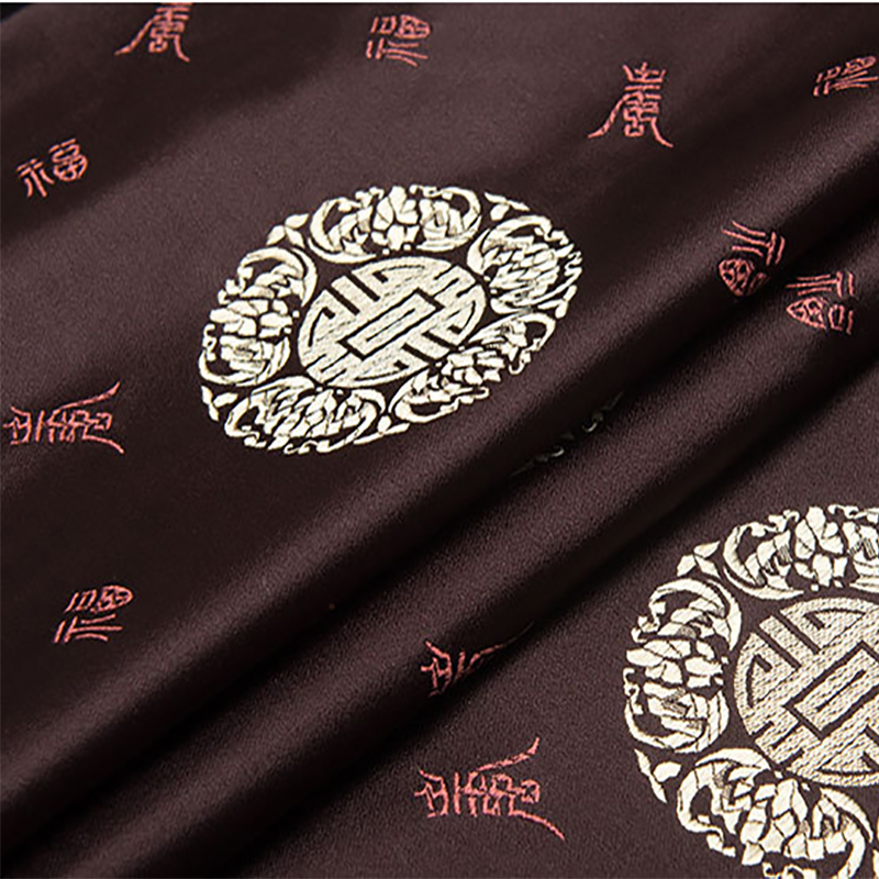 new arrival brocade brown Fu character pattern fabric for patchwork felt tissue telas dress bed sheet children cloth 100x75cm