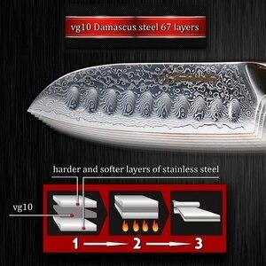 Image 5 - سكين مطبخ من Santoku مقاس 5 بوصة vg10 بتصميم دمشقي من الفولاذ الياباني مكون من 67 طبقتين من الكربون الصلب الذي لا يصدأ أدوات طبخ الشيف الحادة