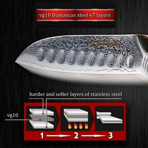 Image 5 - Santoku Knife 5 Inch vg10 Japanese Damascus Steel Kitchen Knife 67 Layers High Carbon Stainless Steel Chef Cooking Tools Sharp